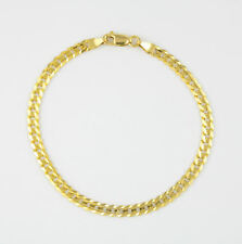 AUTHENTIC 10K Yellow Gold 4MM Womens SOLID Cuban Link Curb Chain Bracelet - 7.5""