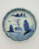 Antique Blue and White Late Edo Period Japanese Imari Bowl Landscape Scene