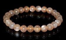8MM GREY MOONSTONE GEMSTONE GRADE AAA ROUND LOOSE BEADS BRACELET 7""