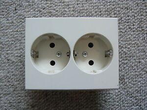 European 10/16 amp 2 gang twin double Schuko socket White boat caravan