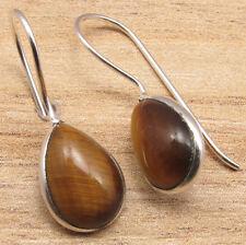 """Tiger'S Eye Fancy Earrings 1 1/8"""" 925 Silver Plated Gemstone Jewelry, Original"""