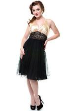 UNIQUE VINTAGE: CHAMPAGNE & BLACK HALTER COCKTAIL/PARTY SHORT DRESS XL; AU 14-16