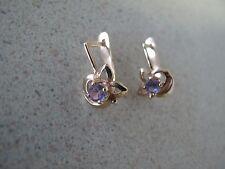 Russian Soviet Earrings Rose Pink Gold Alexandrite stone small Comet design 585