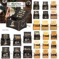 Vintage Wooden Music Box Carousel Toys Kids Musical Birthday Gift Clockwork Gift