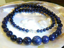 6-14mm Blue Sandstone Gemstone Round Beads Necklace 18'' PN1144