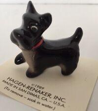 Hagen Renaker Miniature Black Scottish Terrier Dog Scotty On Card Made In 1989