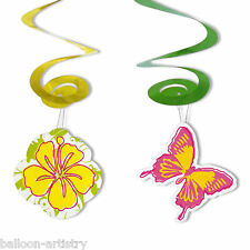 4 Tropical Hibiscus Flowers Butterflies Party Hanging Spirals Decorations