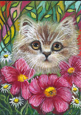 ACEO Original Art Painting Cat Kitten Kitty Portrait Flowers Animal Whimsical