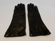 *DESIGNER LADIES BLACK LEATHER WINTER GLOVE ACRYLIC LINING SZE 6.5 MADE IN ITALY