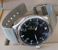 PARNIS 44mm pilot hand winding Men's watch without logo Stainless steel band