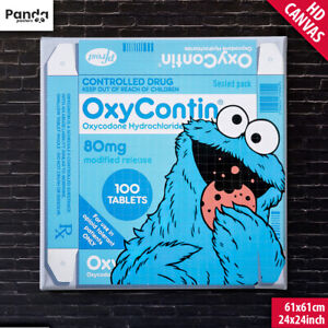 Ben Frost OxyCookie Poster Canvas (60x60cm/24x24in) Cookie Monster OxyContin Art