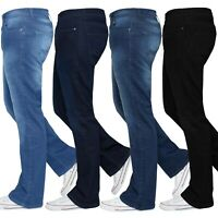 Kruze Mens Bootcut Wide Leg Jeans Flared Designer Stretch Denim Pants All Waists