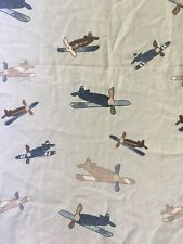 100% Cotton POTTERY BARN KIDS Airplanes Twin Flat Sheet EUC