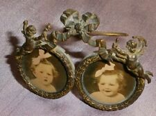 """Cadre porte photos laiton 1900 belle époque """" Putti & Noeud Marie Antoinette """""""
