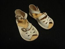 Antique Vintage Baby Leather Top White Sandal Buckle Shoe Size 1