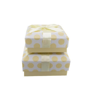 Lovely Nested Set of 2 Pretty Lemon Dots Gift Boxes with Ribbon on Top. GBS221