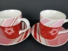 Starbucks 2007 Holiday Mug Cup & Saucer Red & Pink Candy Stripes Christmas set