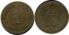 elf Germany Empire 1 Pfennig 1873 A Key Date