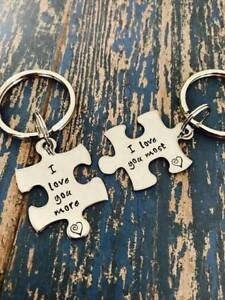 I love you more I love you most puzzle piece key ring set heart His Her Keychain