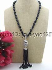 22'' Black Onyx Necklace  tassel pendant necklace