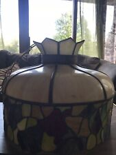 Vintage Large Tiffany Hanging Light Lamp Ceiling Pendant Stained Glass