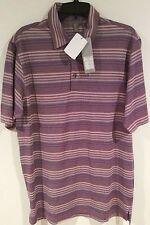 NWT Mens Ashworth Golf Stripe Polo Shirt M W45989 AM1012 Magenta Purple NEW