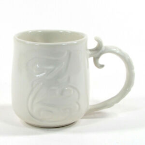 "Pottery Barn A-Z MUG ""Z"" 12oz Ivory Coffee Mug Letter Initial Monogram Scroll"