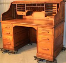Antique Original Quarter Sewn Oak Rolled Top Desk