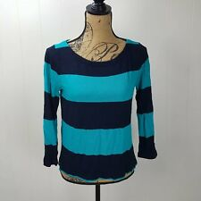 J. Crew Rugby Stripe Boatneck Top Womens Small Navy Blue Rayon Linen 97868