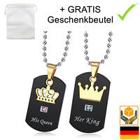 ☆ Her King His Queen ☆ 2x Partner Halskette Liebe Gravur   GRATIS Geschenkbeutel