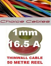 50M AUTO CABLE REEL 1MM 16A RED CAR LOOM WIRE 32/0.2, 1.0MM THINWALL 50 METRES