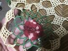 Vintage+Hand+Crocheted+Doily+20+%E2%80%9C+Red+Green+White+Cotton+1940s+Round+raised+rose