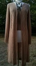 New Directions casual boho  crochet open himono with long sleeve , Xlarge mocha