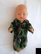 "BABY BORN 17"" DOLLS CLOTHES GREEN CAMO FLANNELETTE PYJAMA'S"