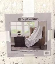 "Regal Comfort ""Wish Upon A Star""White w/Metallic Reversible Sherpa Throw 50 x 60"
