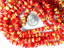 VTG 100 RED YELLOW FACETED FIRE POLISHED GLASS DONUT BEADS 6X9mm #091515j