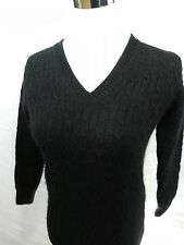 J Crew Womens Knit Sweater Black Wool Blend Casual Wear Size 17 Chest