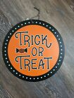 """Orange Halloween 12"""" Vinyl Reversible Sign """"Trick or Treat """" & """" Boo we're Out """""""