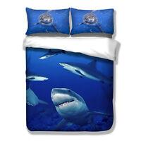 Shark Duvet Doona Quilt Cover Set Single/King/Queen Size Animal Bed Covers Linen