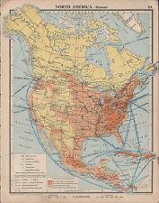 1939 mappa ~ North America rotte marittime industrie metallurgiche porti carbone miniera di ferro