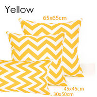 "1x Yellow&White Chevron Cushion Covers Striped Zig Zag/Pillow Cover 18""x45cm"