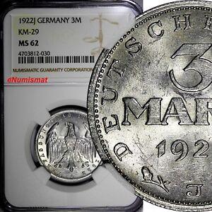 Germany,Weimar Republic 1922 J 3 Mark NGC MS62 LEGEND AROUND EAGLE KM# 29 (030)
