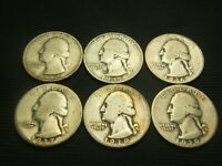 1934 1935 1936 1937 1938 1939  Washington Quarters   90% Silver Pre WW II era