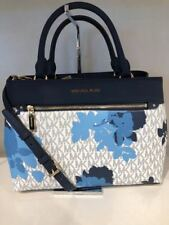 NWT MICHAEL KORS SIGNATURE PVC FLORAL PRINT HAILEE MEDIUM SATCHEL BAG IN NAVY
