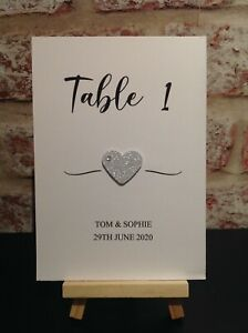 Personalised Wedding Table Numbers/Name Cards with Glitter Heart Any Colours
