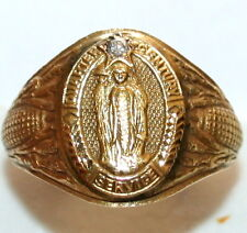 ANTIQUE 11 GRAM 14K GOLD DIAMOND QUARTER CENTURY SERVICE FINE ENGRAVED RING 1909