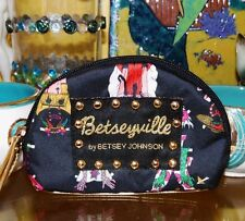 Betsey Johnson VINTAGE Cosmetic Bag PAPER DOLLS Coin Wallet COMIC Betseyville