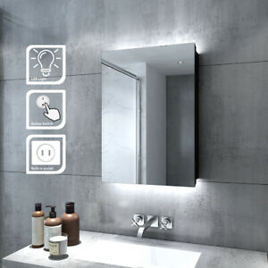 LED Illuminated Bathroom Mirror Cabinet with Shaver Socket Button Switch