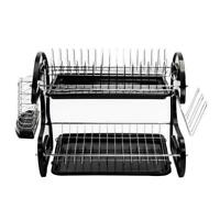 2 Tiers Kitchen Dish Cup Drying Dryer Rack Holder Organizer Tray Cutlery Black