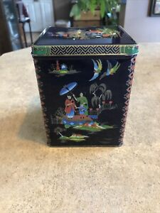 Daher Blue Multi Colored Vintage Asian Design Square Metal Tin Made in England